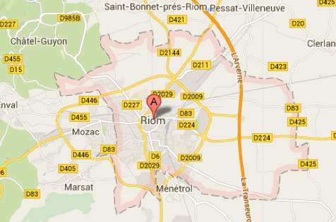 Carte Google Maps de la commune de Riom (63200)